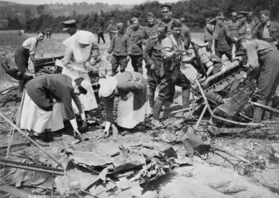 Canadian Nurses viewing the remains of a Gotha which was brought